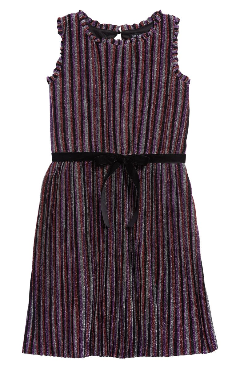 AVA & YELLY Shimmer Stripe Shift Dress, Main, color, MULTI BLACK