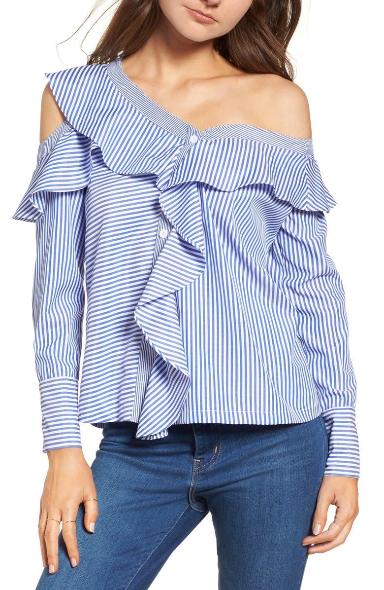 LOST + WANDER Asymmetrical Open Shoulder Ruffle Top, Main, color, 401