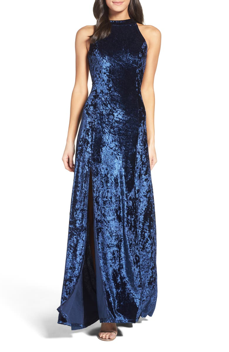 LULUS Strappy Back Crushed Velvet Gown, Main, color, 410