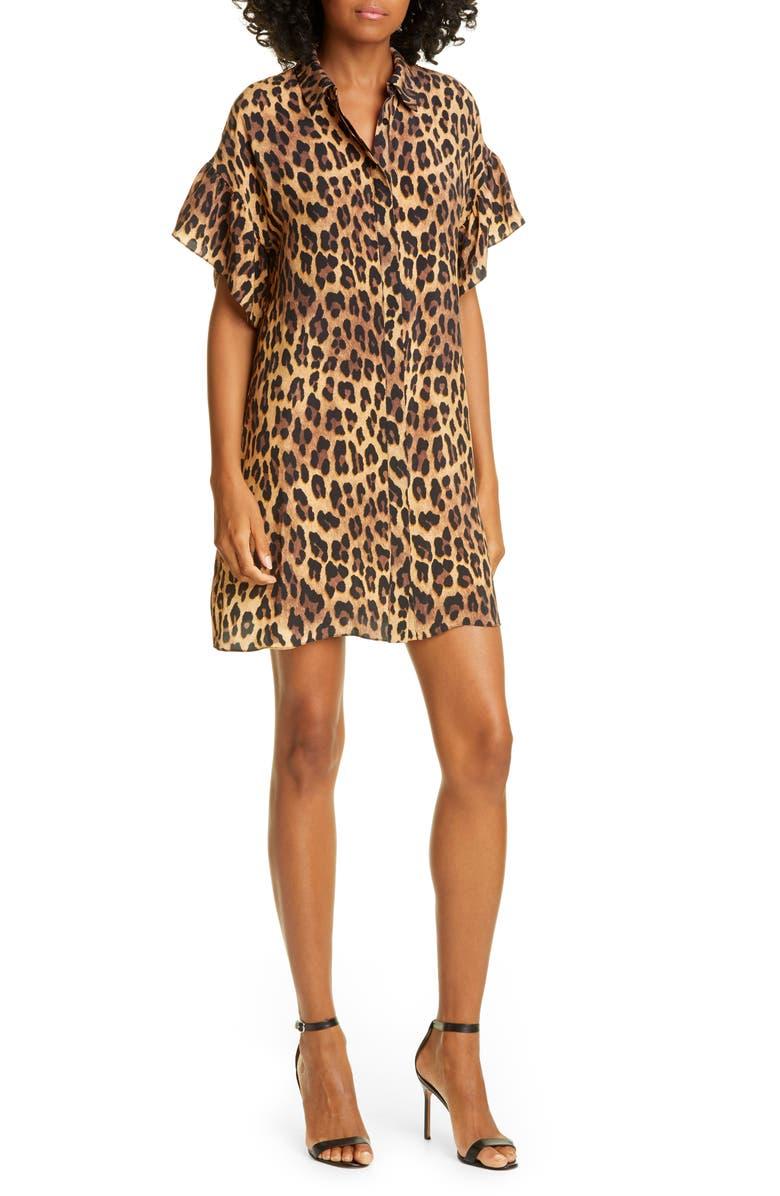 ALICE + OLIVIA Jude Leopard Print Tunic Dress, Main, color, SPOTTED LEOPARD DARK TAN