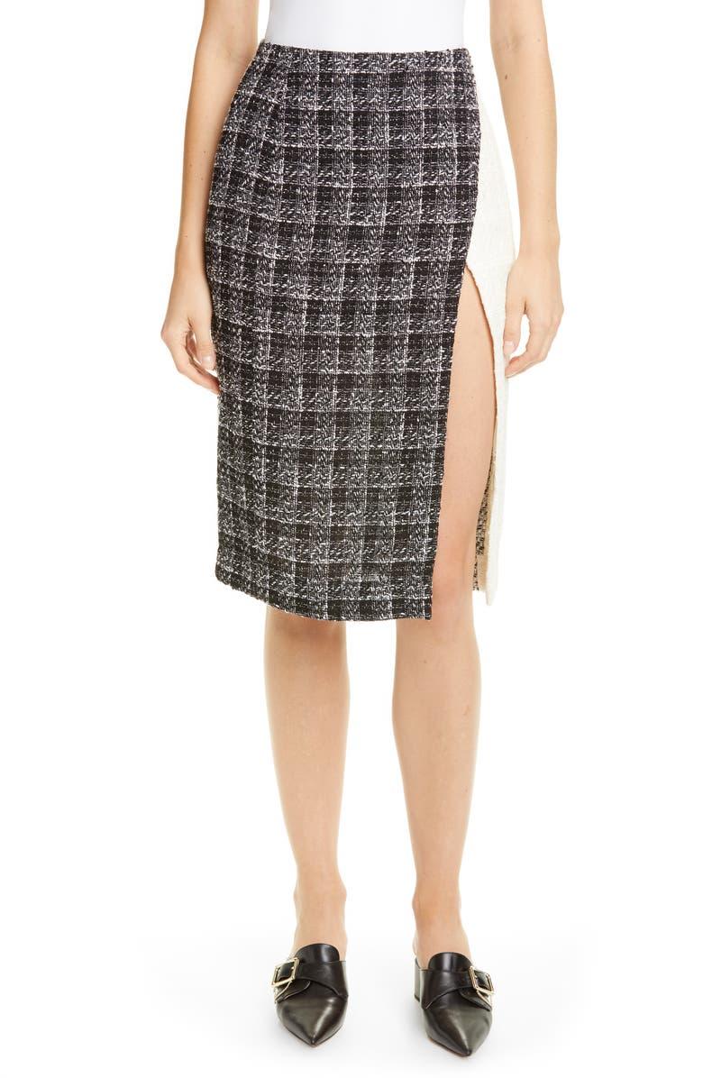 OSCAR DE LA RENTA Colorblock Tweed Skirt, Main, color, 100
