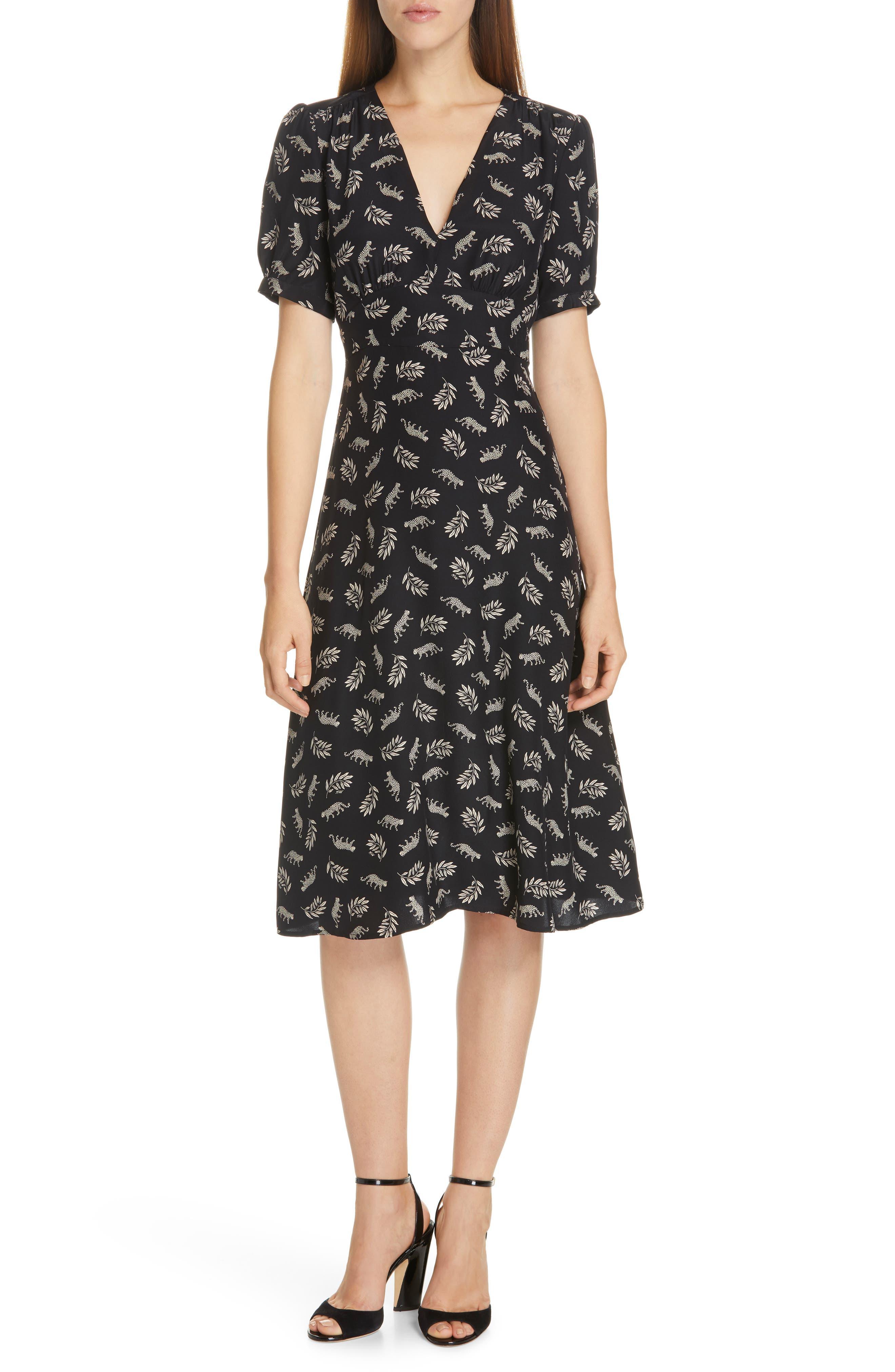 Hvn Paula Print Silk Dress, Black