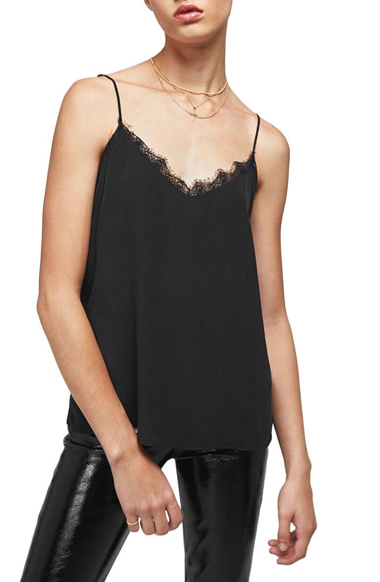 ANINE BING Lace Trim Silk Camisole, Main, color, BLACK