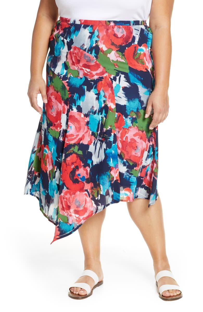GIBSON x International Women's Day Fancy Ashley Asymmetrical Flowy Midi Skirt, Main, color, ANGELA