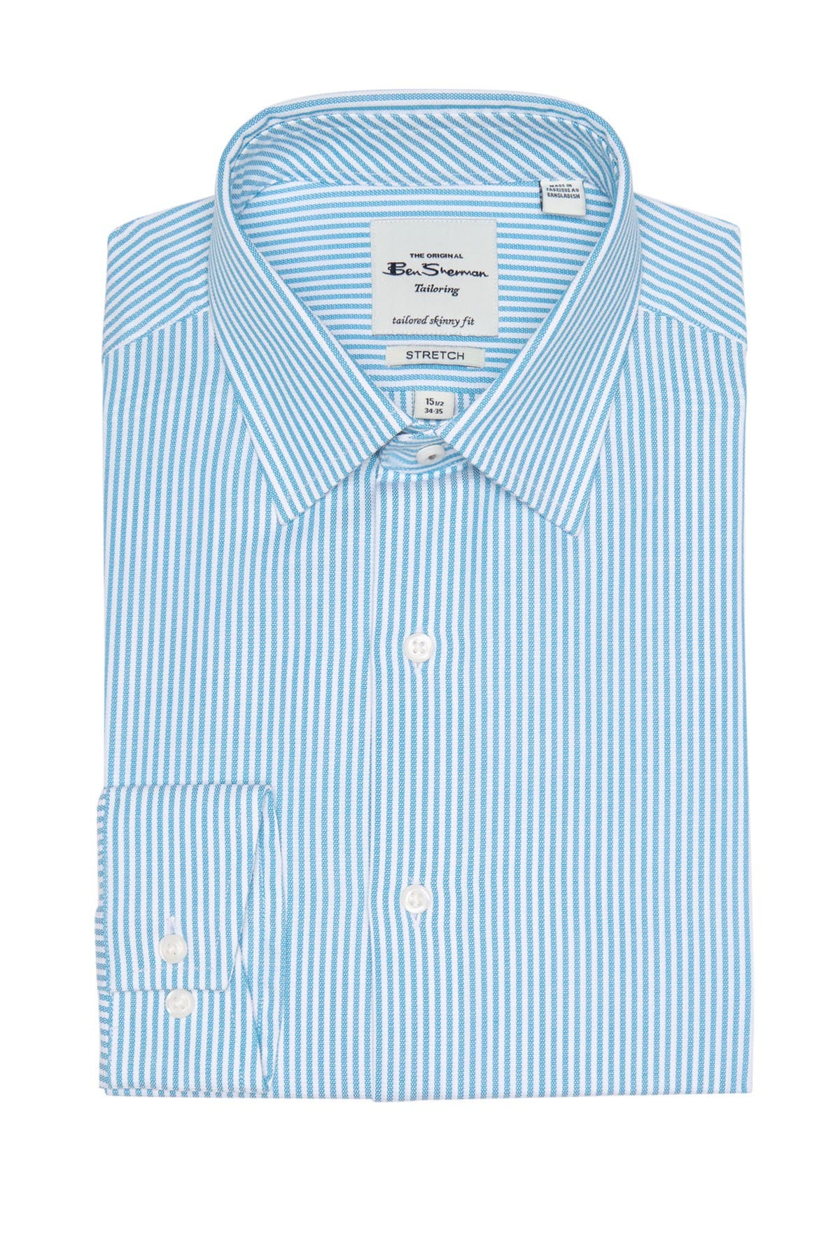 Image of Ben Sherman Teal Dobby Stripe Skinny Fit Dress Shirt