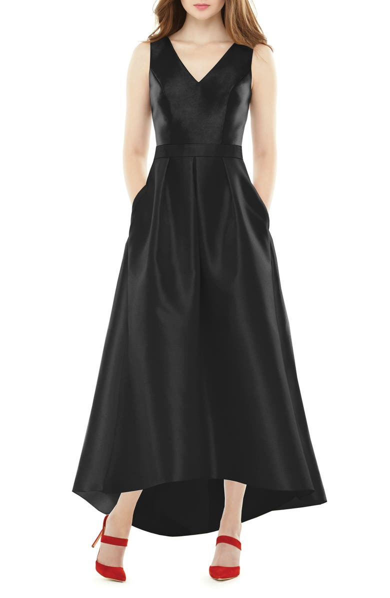 ALFRED SUNG High/Low Sateen Twill Gown, Main, color, BLACK
