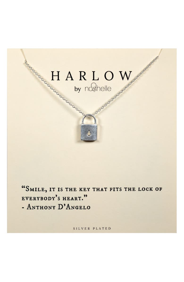 NASHELLE HARLOW by Nashelle Lock Boxed Necklace, Main, color, SILVER