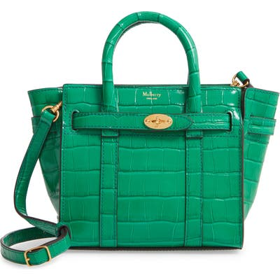 Mulberry Micro Bayswater Croc Embossed Leather Satchel -