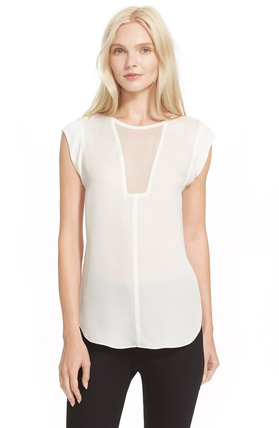 Image of Rebecca Taylor Charlie Sheer Inset Silk Top