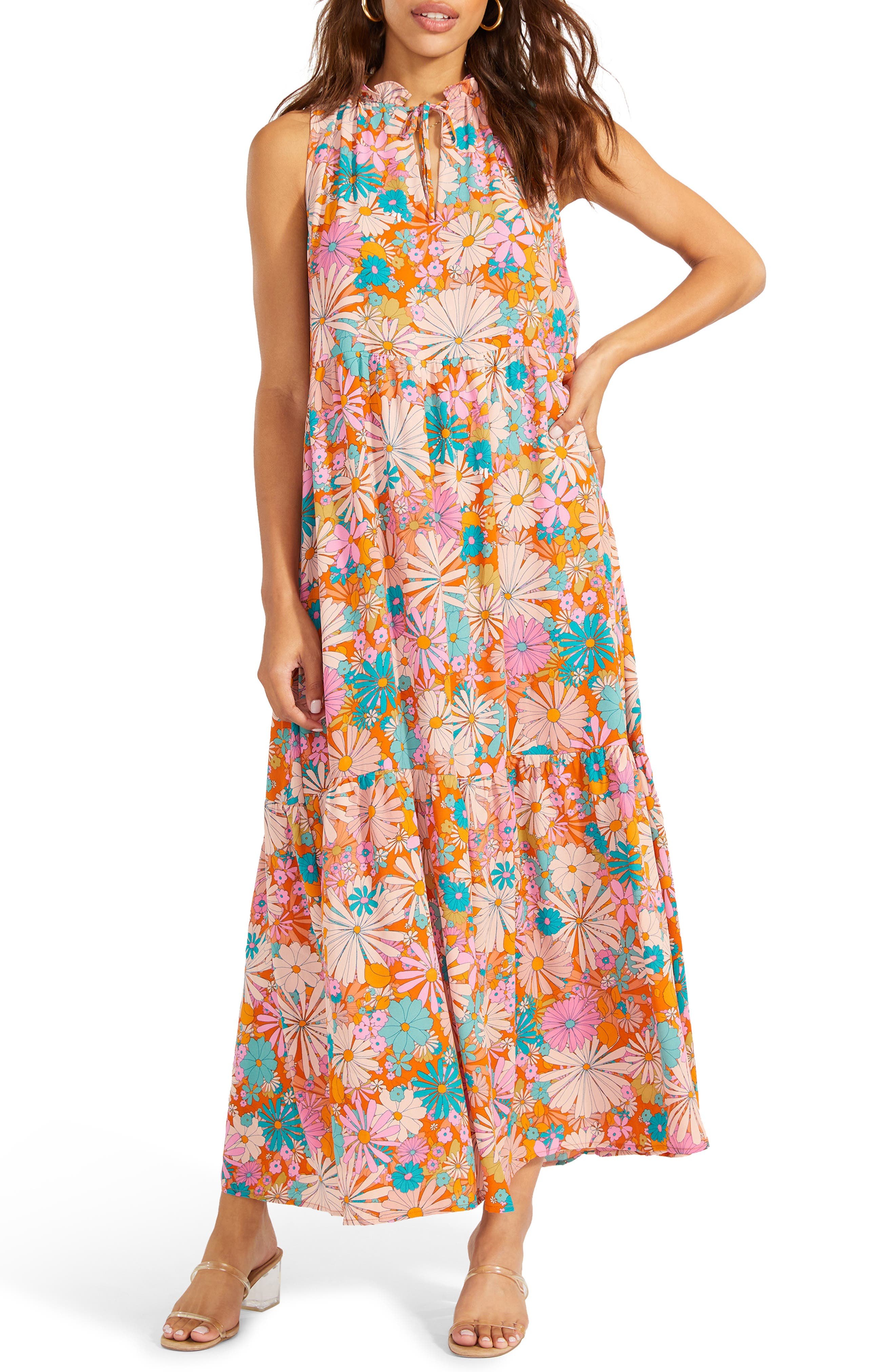California Soul Print Halter Dress