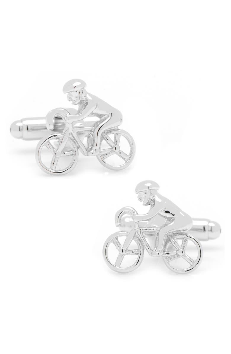 CUFFLINKS, INC. Cyclist Cuff Links, Main, color, SILVER