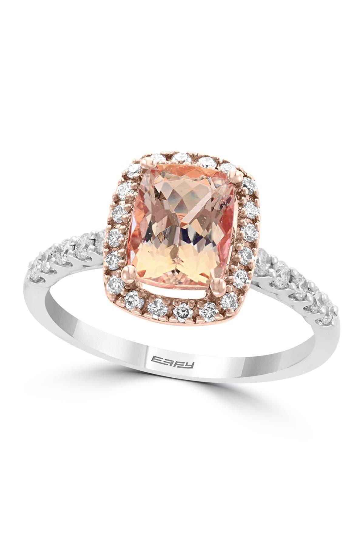 Image of Effy 18K White Gold Prong Set Morgantie & Pave Diamond Ring - Size 7 - 0.34 ctw