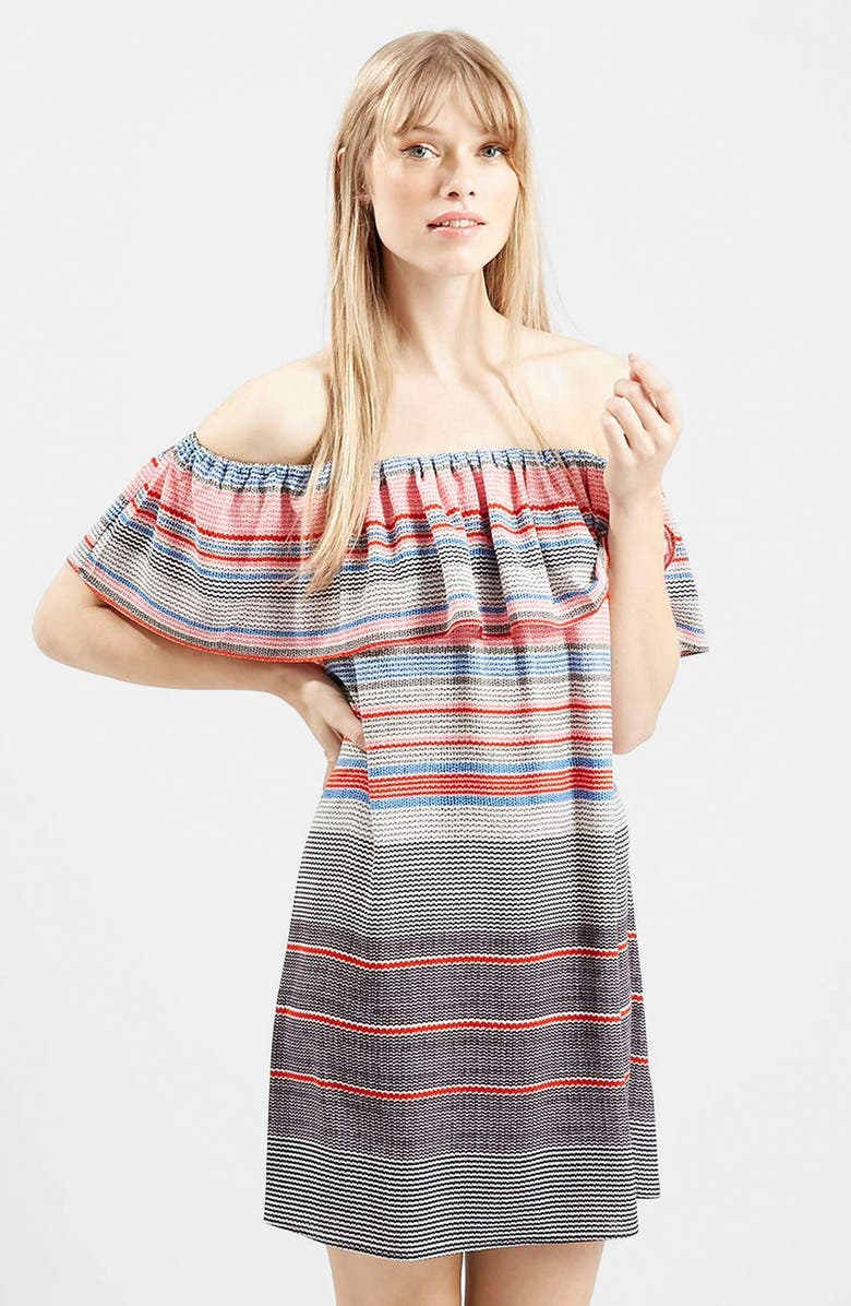 TOPSHOP 'Sumi' Stripe Off the Shoulder Dress, Main, color, 600