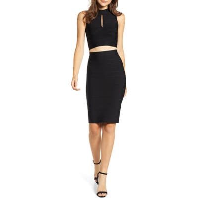 Sentimental Ny Two-Piece Bandage Body-Con Dress, Black