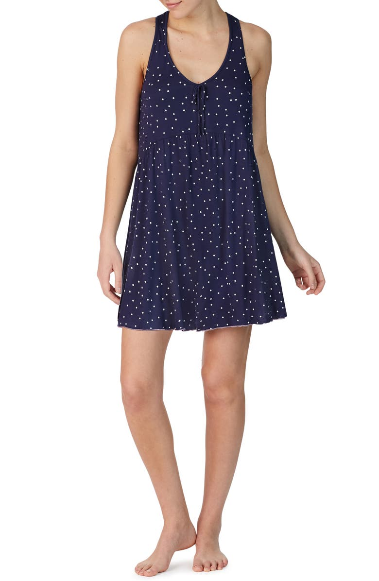 ROOM SERVICE Tank Chemise, Main, color, NAVY DOT