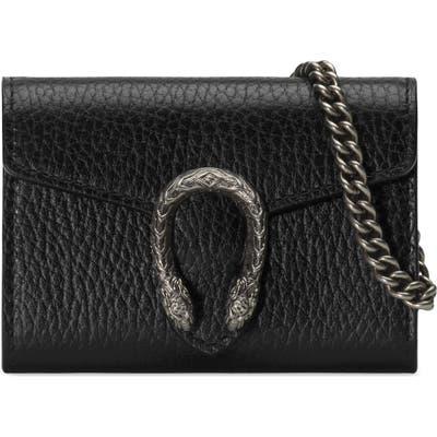 Gucci Dionysus Calfskin Leather Coin Purse On A Chain - Black