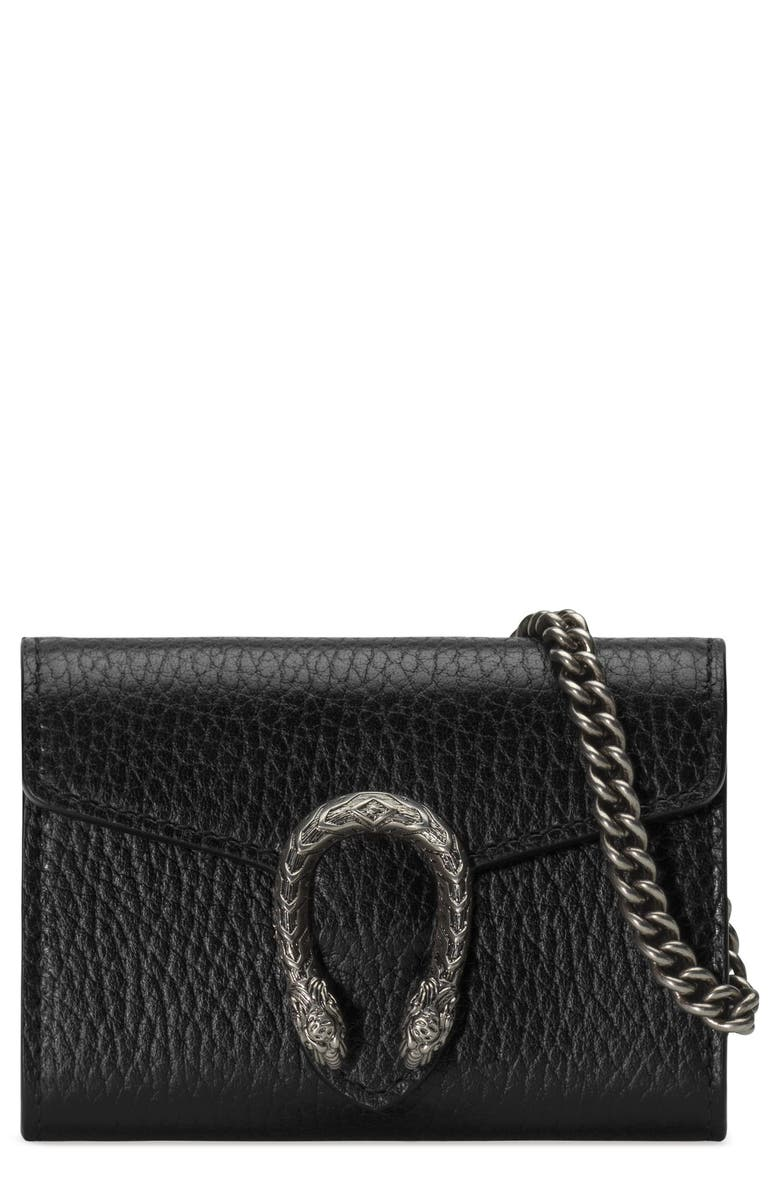 GUCCI Dionysus Calfskin Leather Coin Purse on a Chain, Main, color, 001