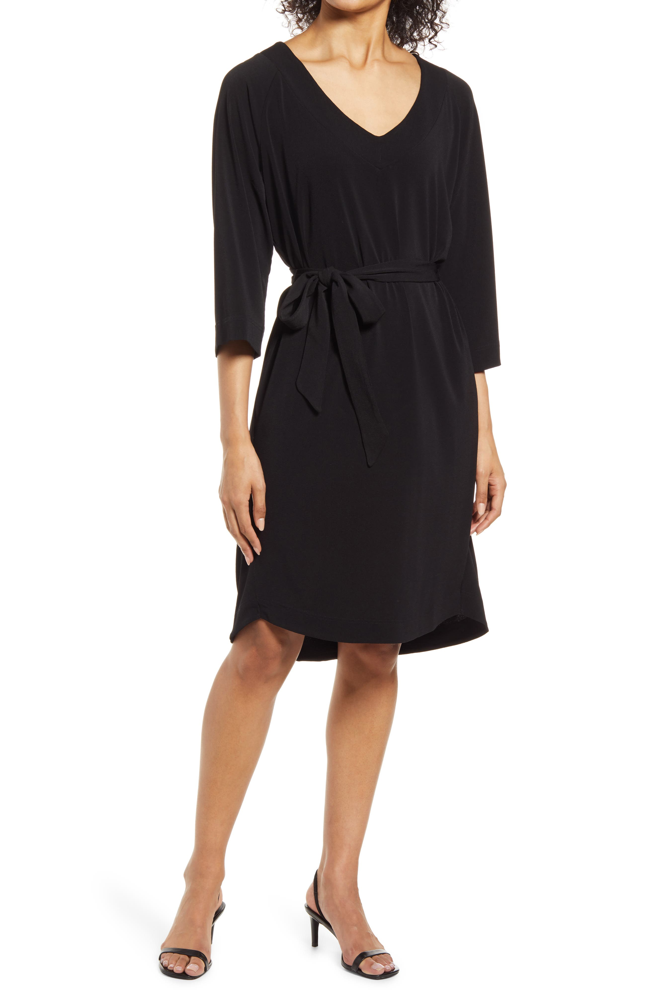 V-Neck Belted Stretch Jersey Dress