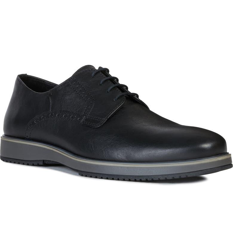 GEOX Tyren Plain Toe Derby, Main, color, BLACK