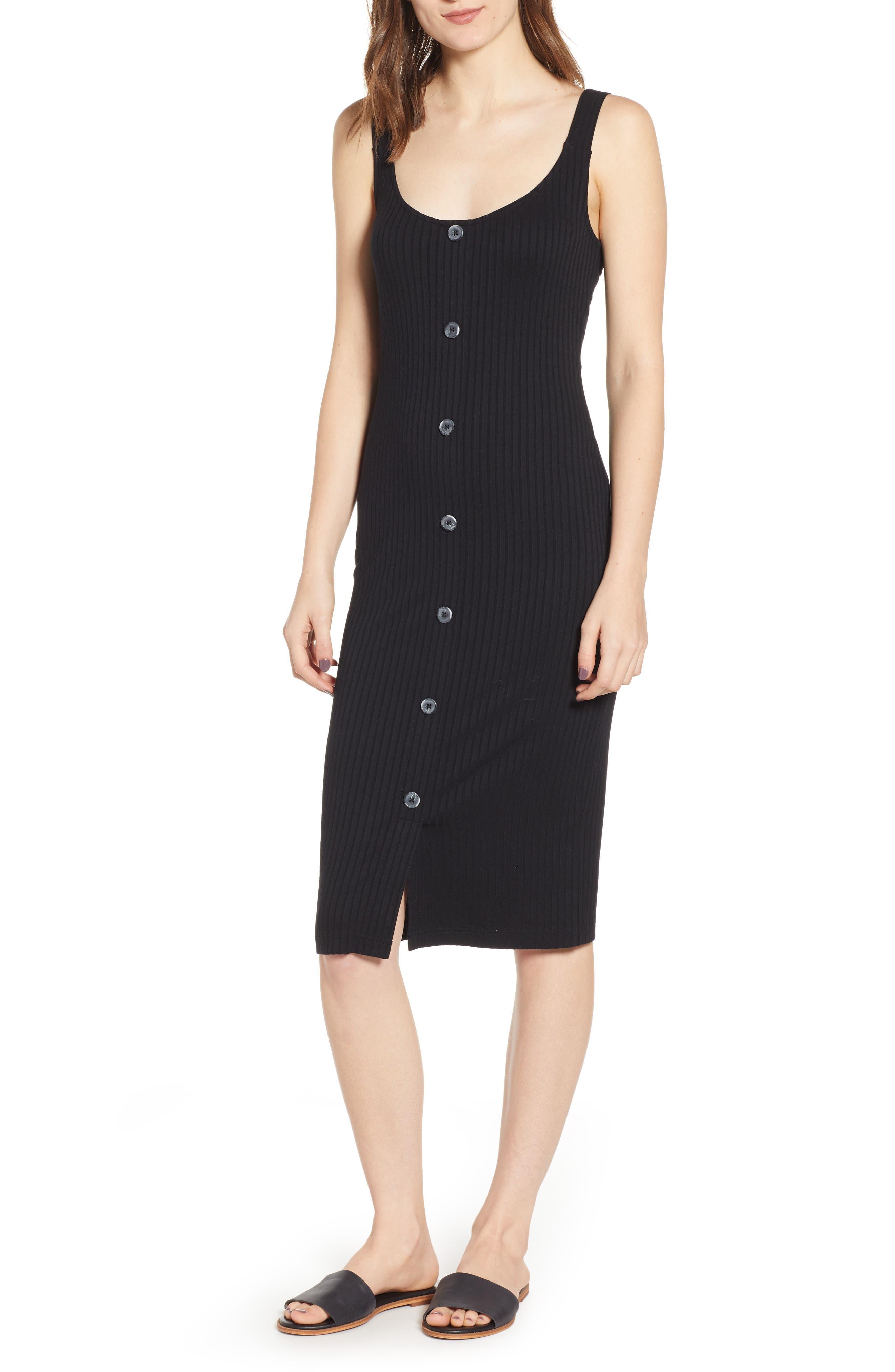 Button Front Midi Dress, Main, color, BLACK