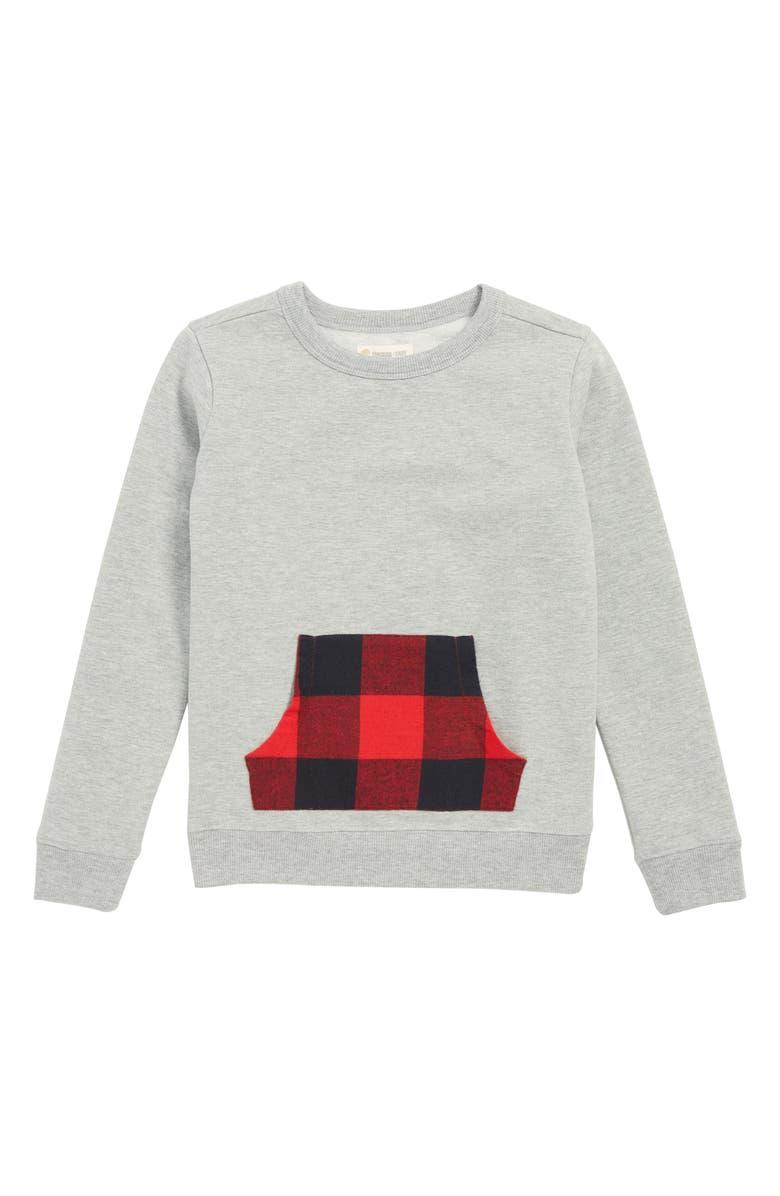 TUCKER + TATE Plaid Pocket Sweatshirt, Main, color, GREY MEDIUM HEATHER