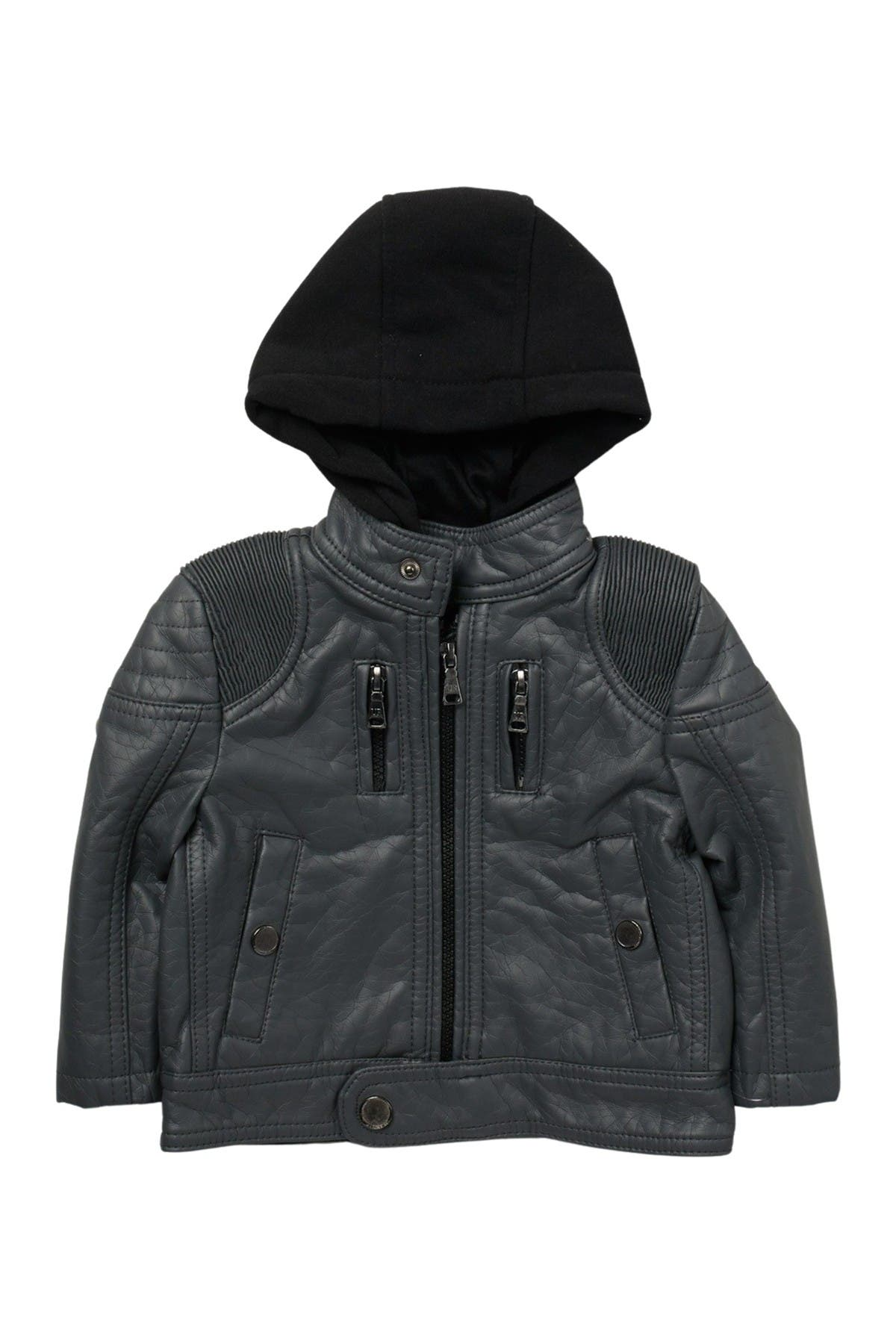 Image of Urban Republic Hooded Faux Leather Jacket