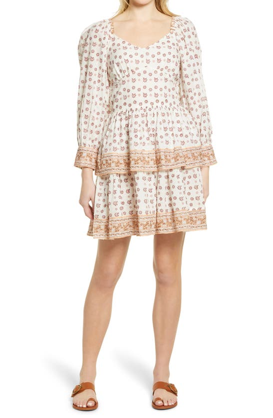 Cleobella REINA BORDER PRINT LONG SLEEVE MINIDRESS