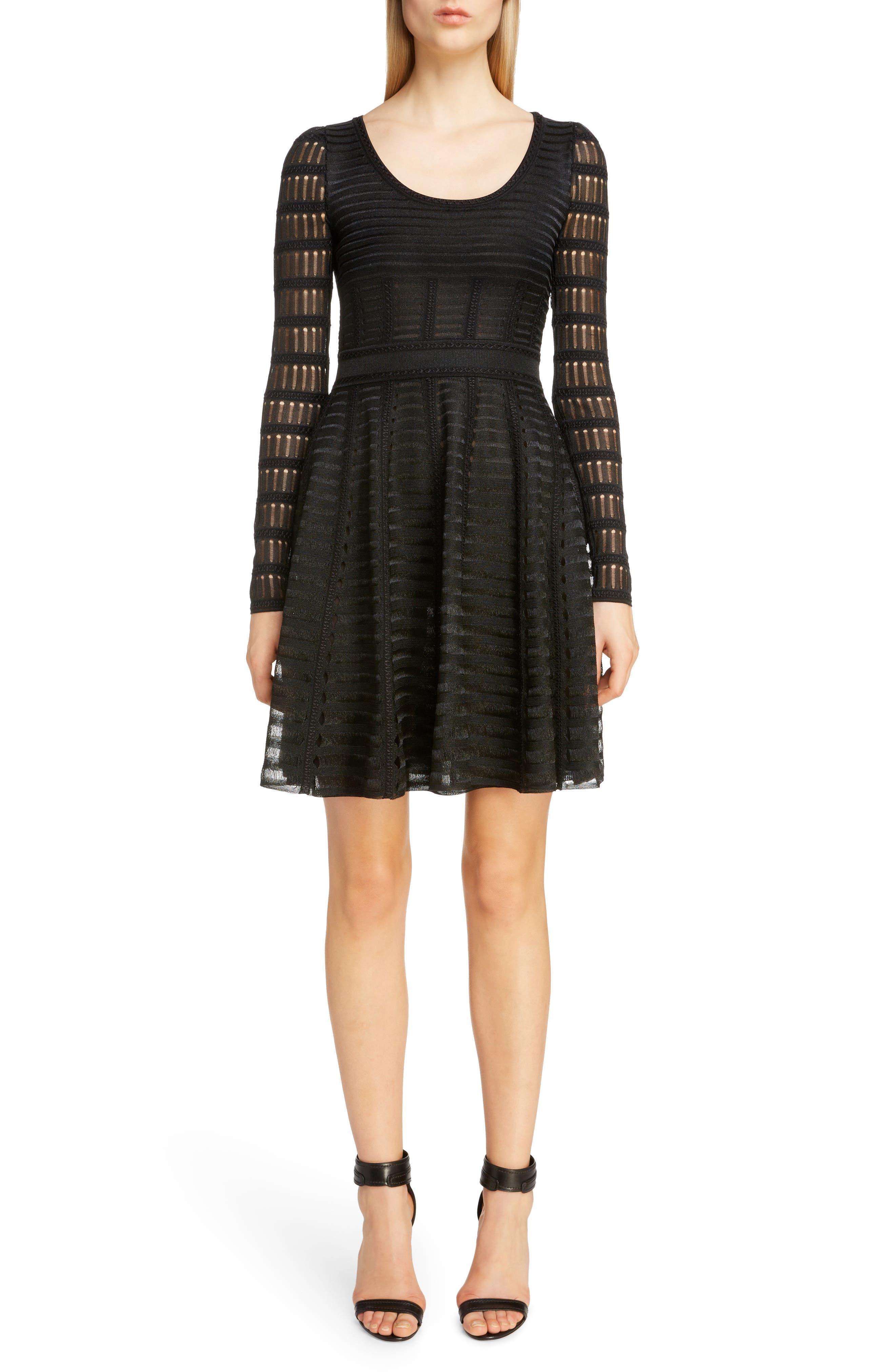 Alexander Mcqueen Open Knit Fit & Flare Minidress, Black