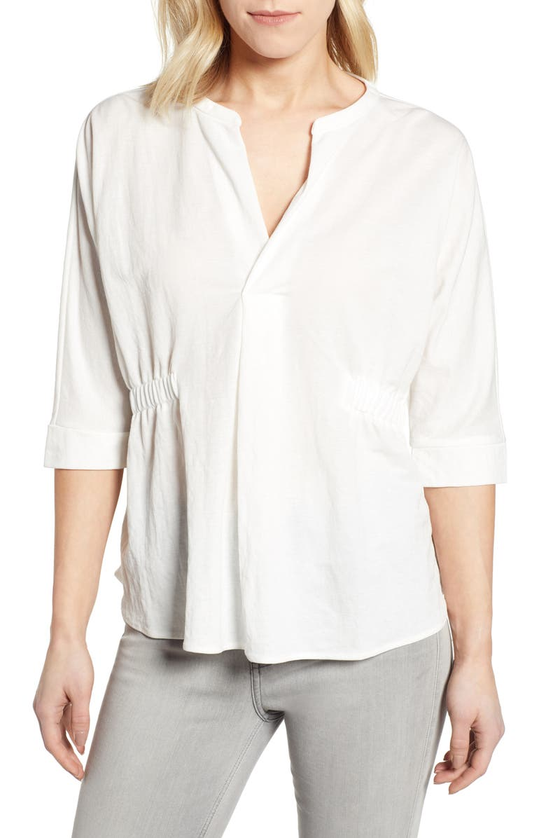 BOBEAU Roselyn Split Neck Top, Main, color, BRIGHT WHITE
