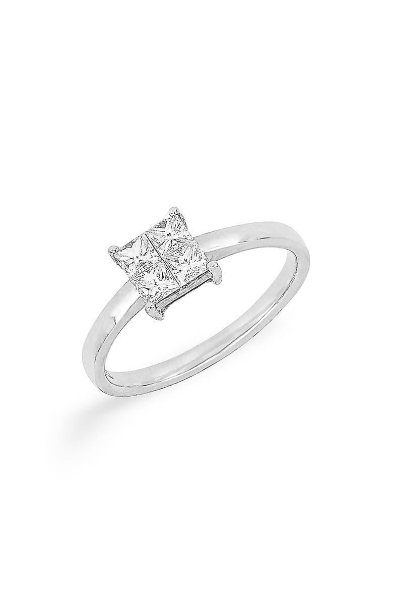 BONY LEVY Princess Cut Diamond Ring, Main, color, WHITE GOLD