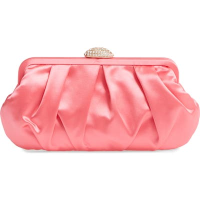 Nina Concord Pleated Satin Frame Clutch - Pink