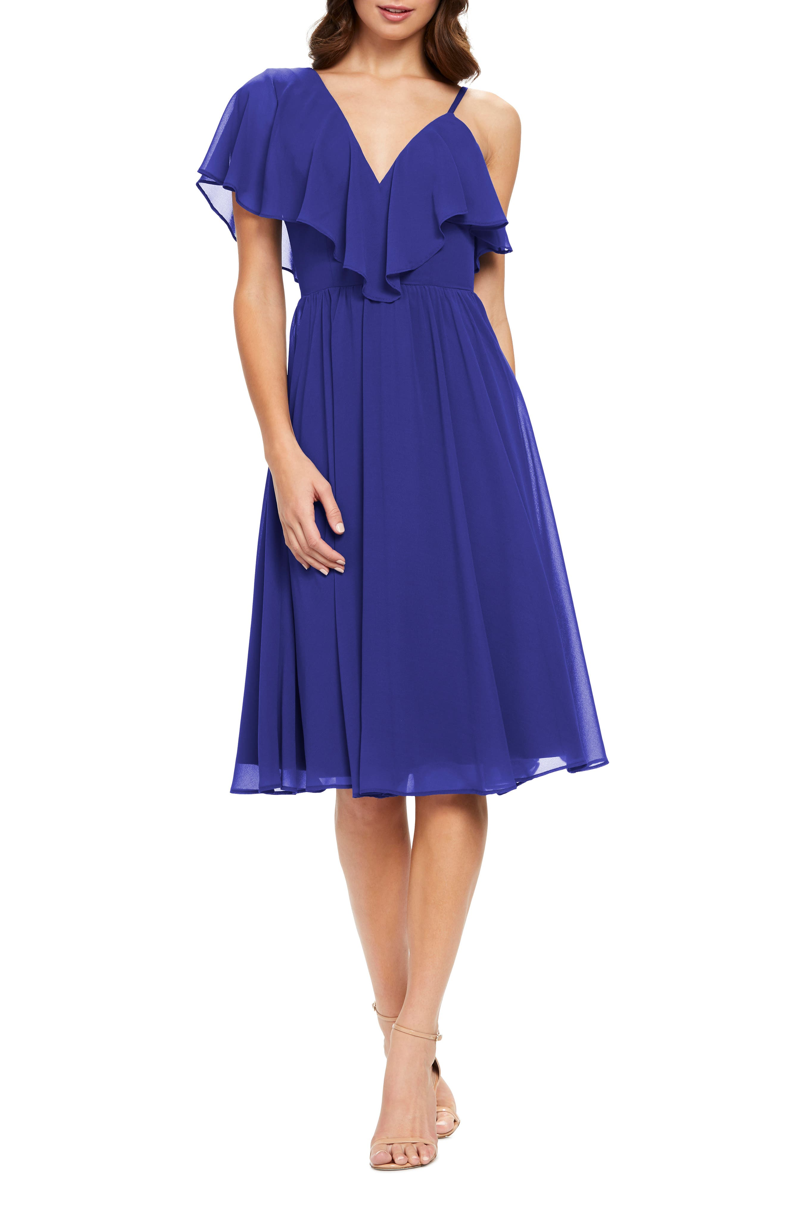 Dress The Population Claudia Asymmetrical Ruffle Cocktail Dress, Blue