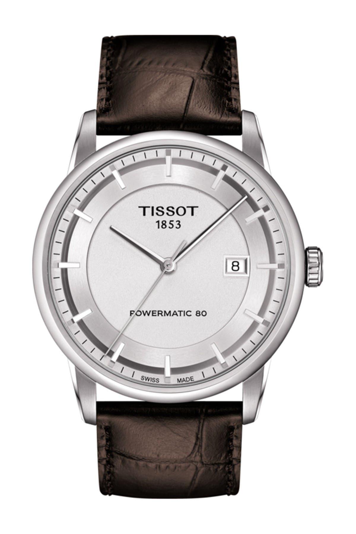Image of Tissot Men's Luxury Powermatic 80 Croc Embossed Men's Leather Strap Watch, 41mm