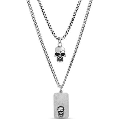 Steve Madden Skull Dog Tag Duo Pendant Necklace