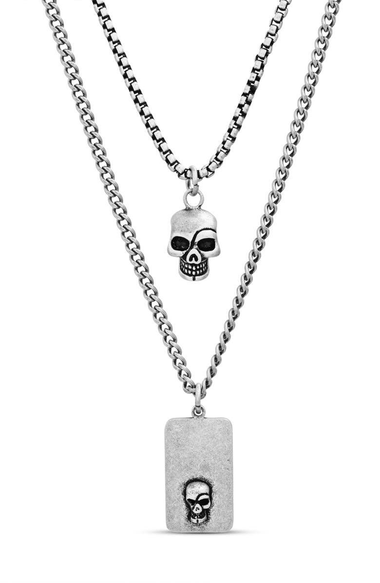 STEVE MADDEN Skull Dog Tag Duo Pendant Necklace, Main, color, METALLIC SILVER