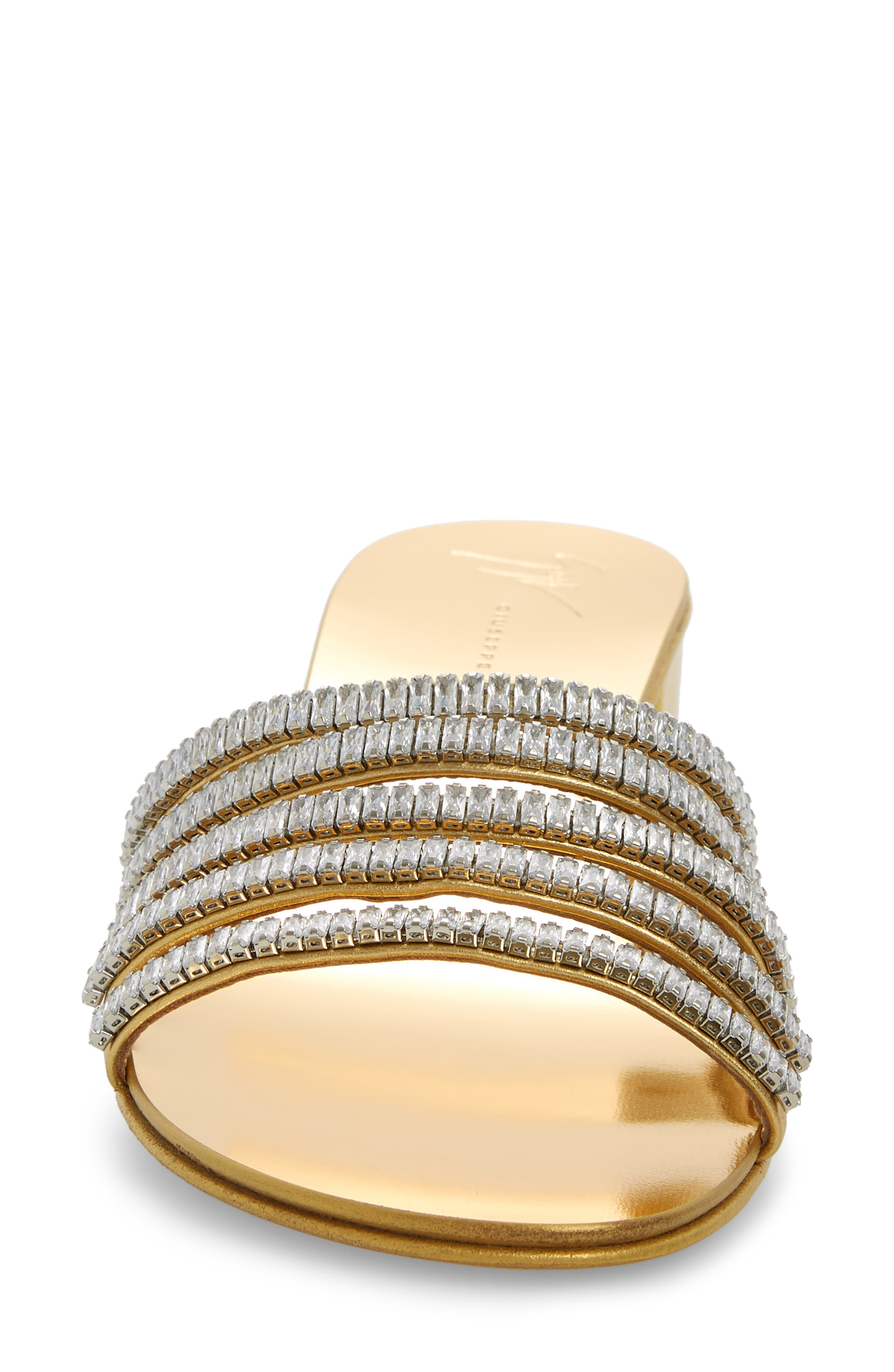 ,                             Crystal Embellished Slide Sandal,                             Alternate thumbnail 4, color,                             GOLD