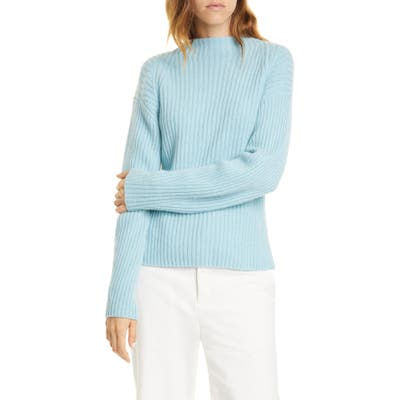 Vince Ribbed Mock Neck Wool & Cashmere Sweater, Blue