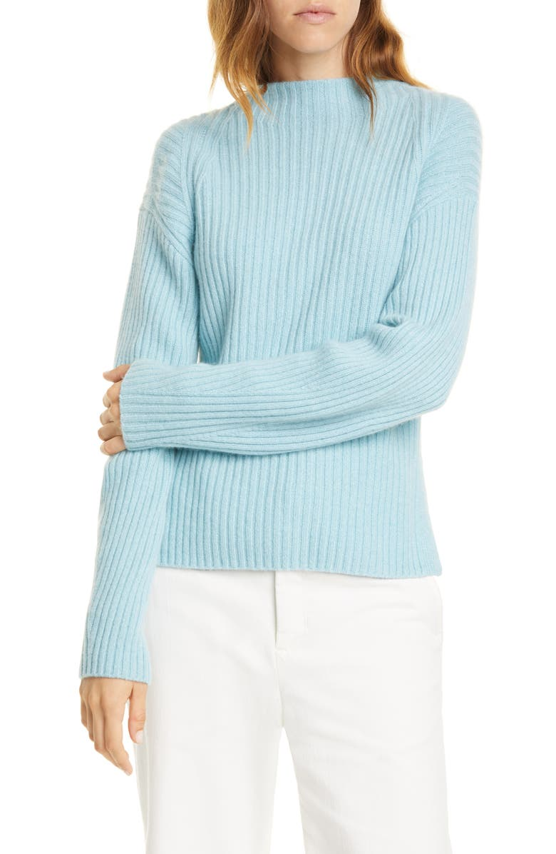 VINCE Ribbed Mock Neck Wool & Cashmere Sweater, Main, color, HEATHER ARIA