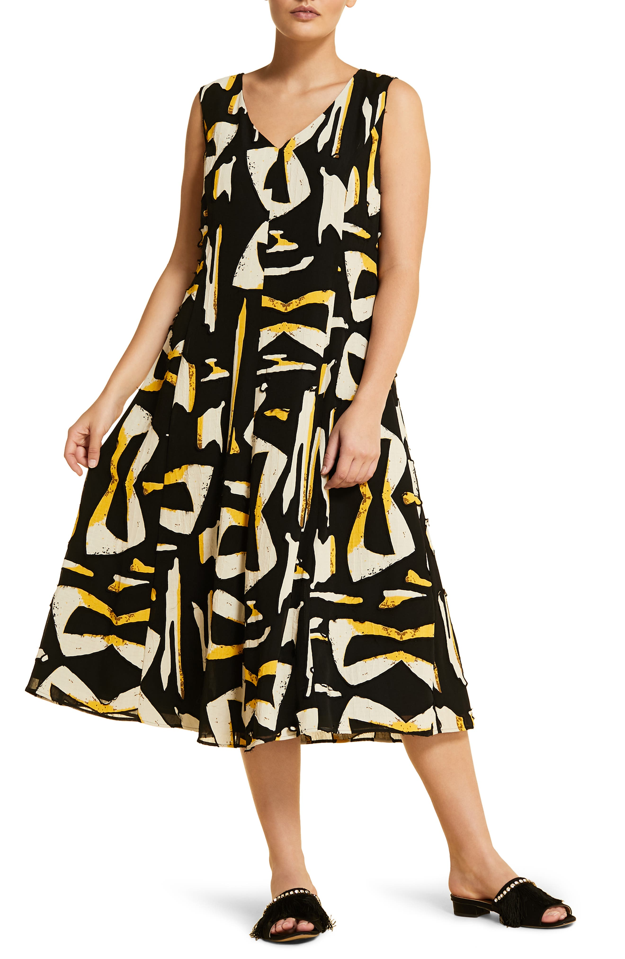 Plus Size Marina Rinaldi Docile Midi Dress, Black