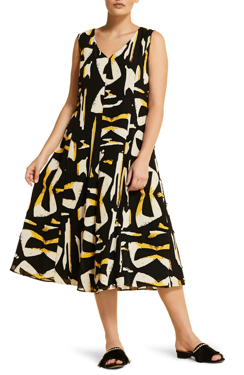MARINA RINALDI Docile Midi Dress, Main, color, BLACK