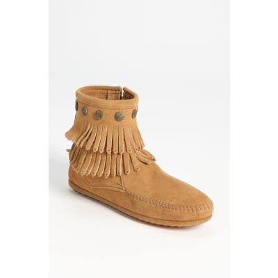 Minnetonka Double Fringe Boot, Beige