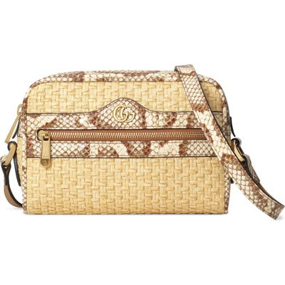 Gucci Ophidia Genuine Snakeskin & Straw Crossbody Bag - Beige