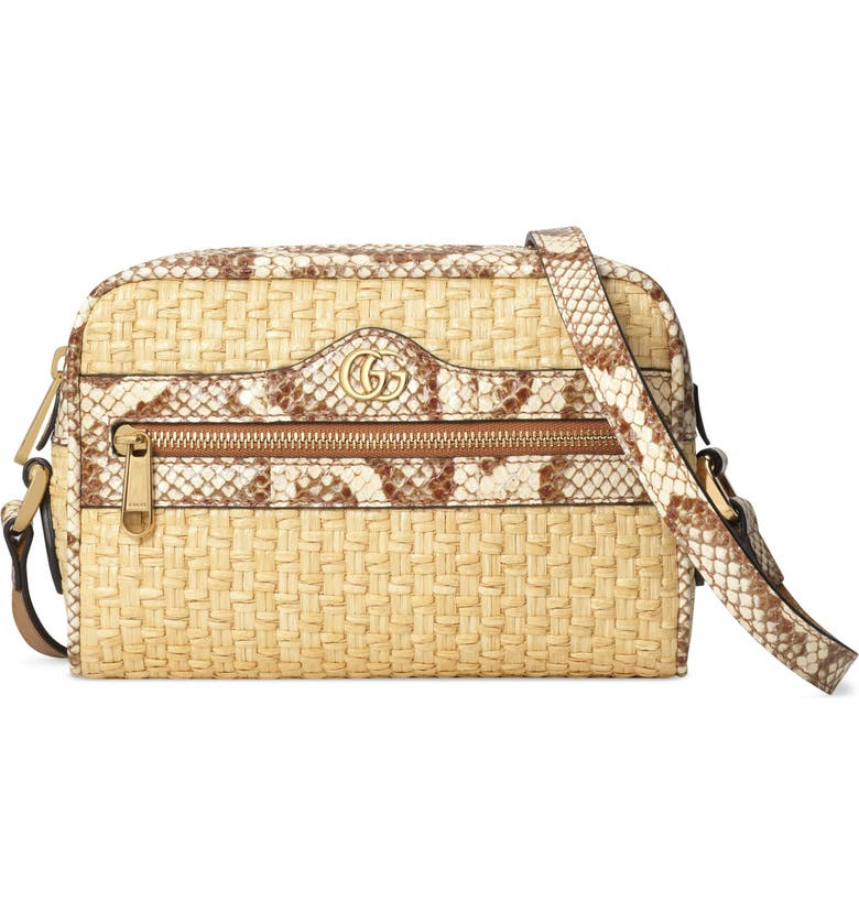 GUCCI Ophidia Genuine Snakeskin & Straw Crossbody Bag, Main, color, NATURAL/ CREAM BROWN