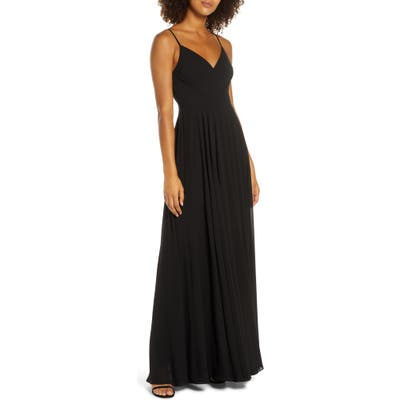 Lulus Surplice Chiffon Gown, Black