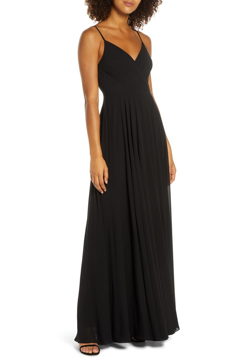 LULUS Surplice Chiffon Gown, Main, color, BLACK
