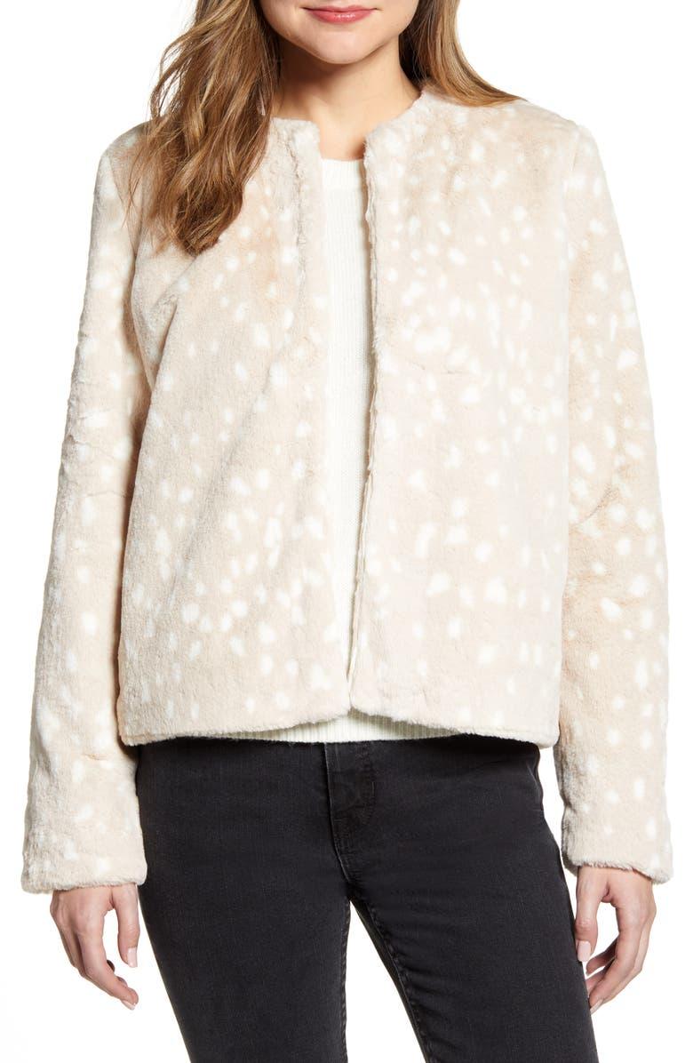 RACHEL PARCELL Print Faux Fur Jacket, Main, color, TAN ANIMAL PRINT