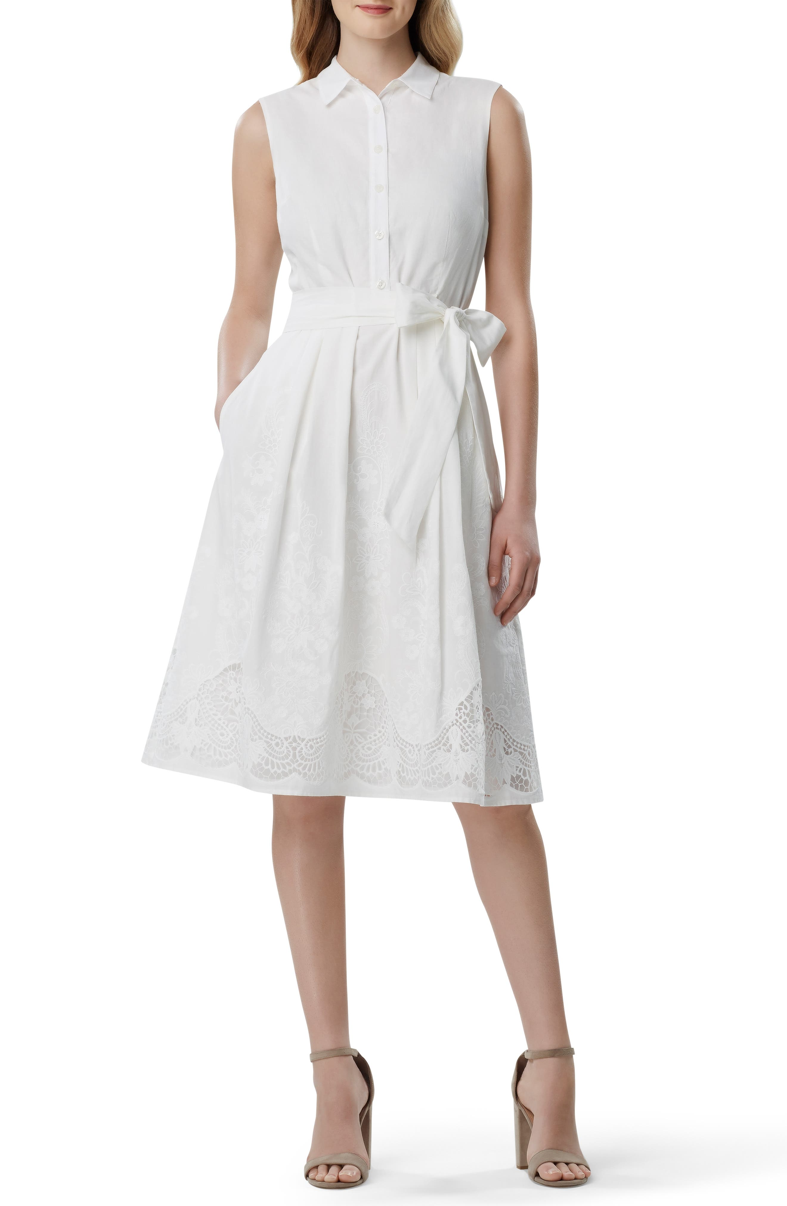 8e1989886a Petite Tahari Lace Detail Cotton Voile Dress, Ivory