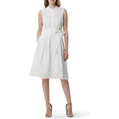 Petite Tahari Lace Detail Cotton Voile Dress, Ivory