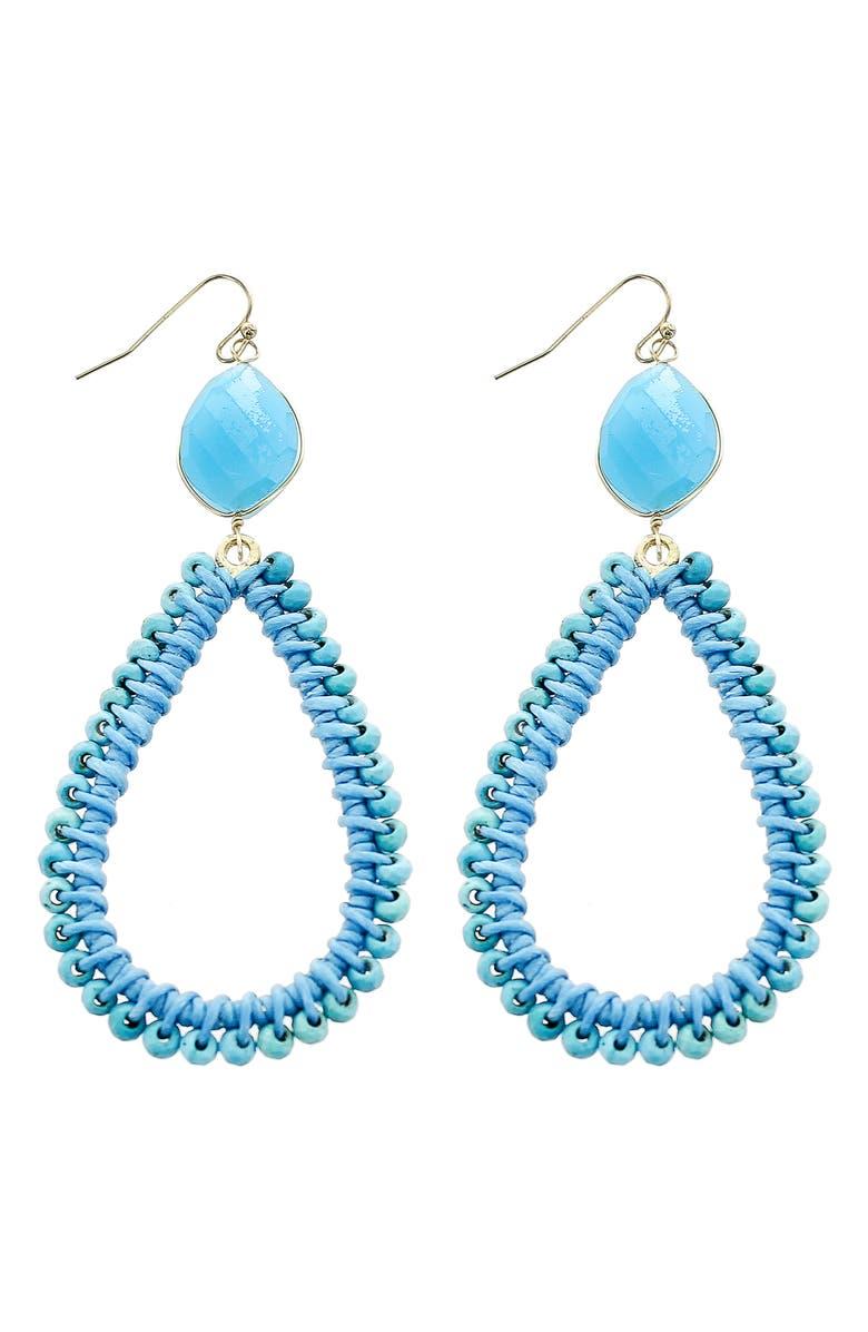 PANACEA Beaded Teardrop Earrings, Main, color, TURQUOISE