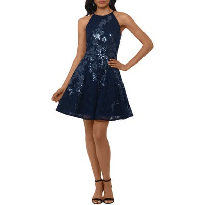 Xscape Floral Sequin Lace Skater Dress, Blue